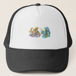 Zeus Thunderbolt Vs Poseidon Trident Tattoo Trucker Hat