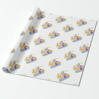 Zeus Wielding Thunderbolt Lightning Drawing Wrapping Paper