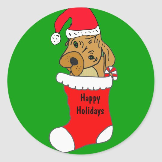 ZF- Fun Puppy in a Stocking Stickers