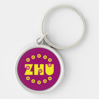 Zhu in Flores Yellow Silver-Colored Round Keychain
