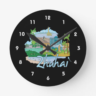 zhuhai city vacation graphic blue.png wallclock