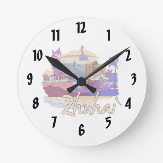 zhuhai city vacation graphic peach.png wallclocks