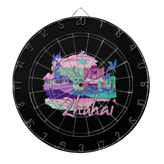 zhuhai city vacation graphic pink.png dartboard with darts