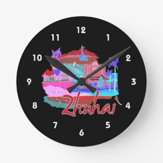 zhuhai city vacation graphic red.png wallclock