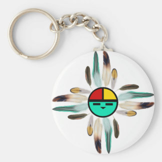 Zia Sun God with Feathers Basic Round Button Keychain