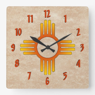 Zia (Sun) Square Wall Clock