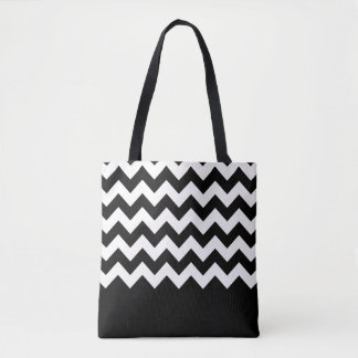 Zig Zag and Solid Pattern Tote Bag