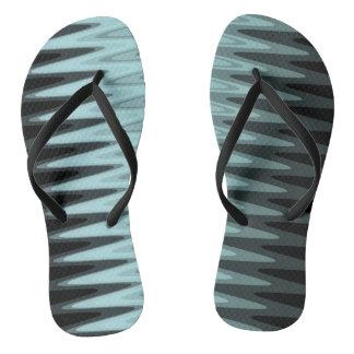 Zig Zag Black Teal Gray Pattern Flip Flops