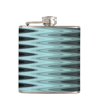 Zig Zag Black Teal Gray Pattern Hip Flask