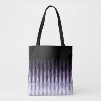 Zig Zag Black White Gray Dark Purple Beige Pattern Tote Bag