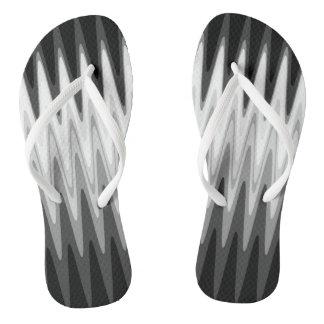 Zig Zag Black White Gray Pattern Flip Flops