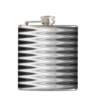 Zig Zag Black White Gray Pattern Hip Flask