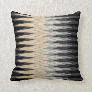 Zig Zag Black Yellow Gray Pattern Throw Pillow