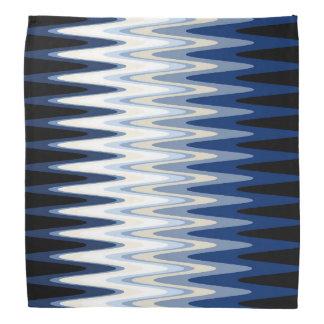 Zig Zag Blue Black White Gray Beige Pattern Bandana