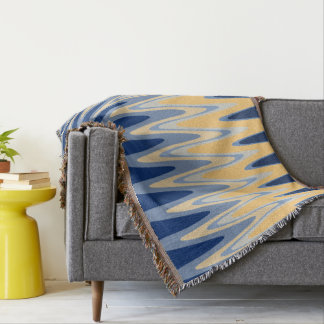 Zig Zag Blue Yellow Gray Beige Pattern Throw Blanket