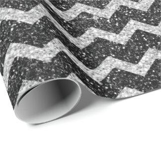 Zig Zag Chevron Art Deco Gray Silver Glitter Wrapping Paper