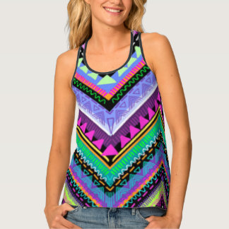 Zig Zag Colorful Pattern Print Design Tank Top