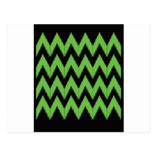 Zig zag green black inc postcard