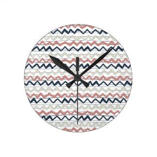 zig zag lines geometric pattern wallclocks