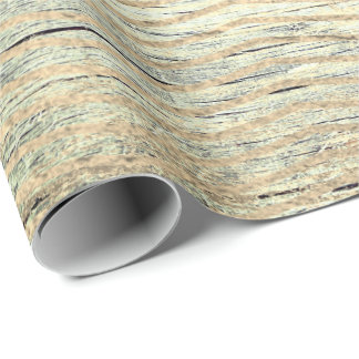 Zig Zag Metallic Shabby Gold Wood Cali Mint Wrapping Paper