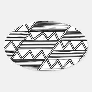 Zig Zag Pattern Oval Sticker