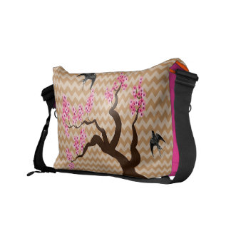 Zig Zag Pattern You Choose Colors- Cherry Blossom Courier Bag