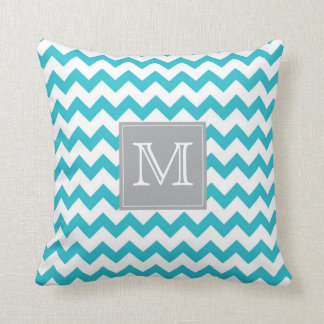 Zig Zag turquoise Pattern with gray monogram box Throw Pillow