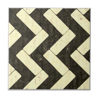 Zig-Zag White and Black Brick Pavers Tile