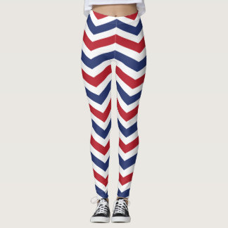 Zig Zap Red White and Blue Pattern USA Leggings