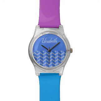ZIGZAG and monogram plus chevron blue Watch