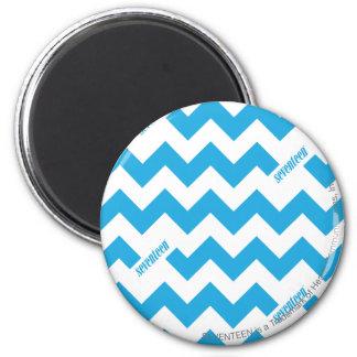 ZigZag Aqua 2 Inch Round Magnet