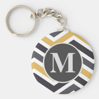 ZigZag Chevron Gold And Gray Monogrammed Keychain