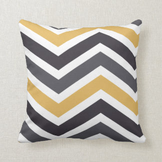 ZigZag Chevron Gold And Gray Throw Pillow