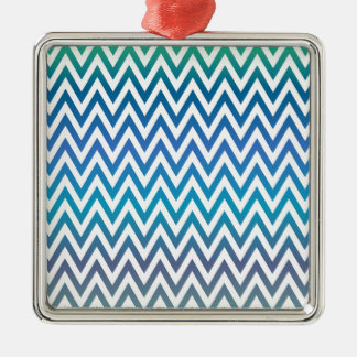 zigzag, colorful, funny, blue and green metal ornament