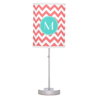 Zigzag Coral and Aqua Custom Monogram Table Lamp