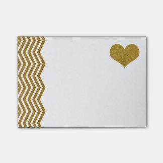 Zigzag de scintillement d'or de FAUX et coeur Notes Post-it
