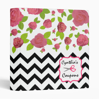 Zigzag & Floral Mixed Prints Coupon Organizer 3 Ring Binders
