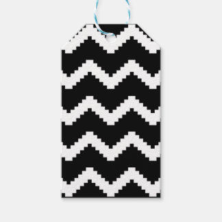 Zigzag geometric pattern - black and white. gift tags