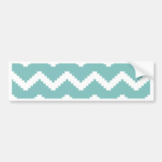 Zigzag geometric pattern - blue and white. bumper sticker