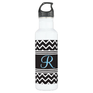 Zigzag Goth Black White Chevron Monogram