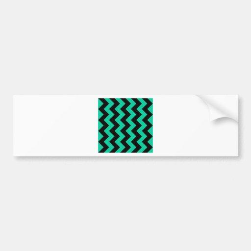 Zigzag I - Black and Caribbean Green Bumper Sticker
