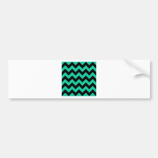 Zigzag I - Black and Caribbean Green Bumper Stickers