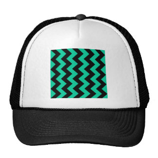 Zigzag I - Black and Caribbean Green Mesh Hats