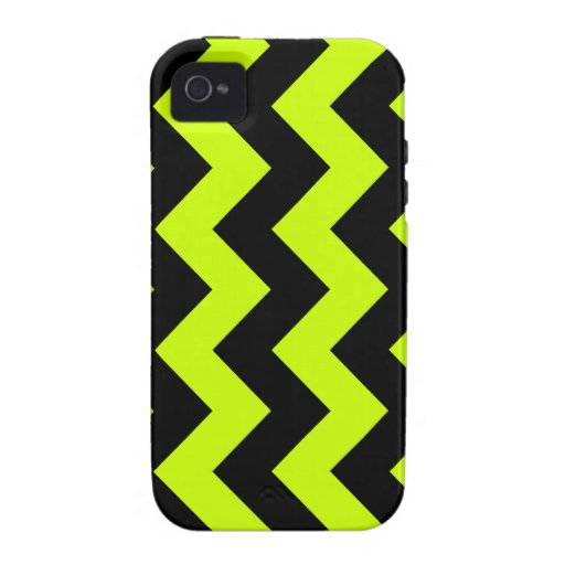 Zigzag I - Black and Fluorescent Yellow Vibe iPhone 4 Covers