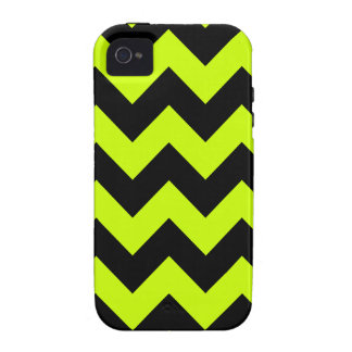 Zigzag I - Black and Fluorescent Yellow iPhone 4/4S Covers