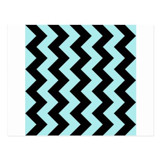 Zigzag I - Black and Pale Blue Postcard
