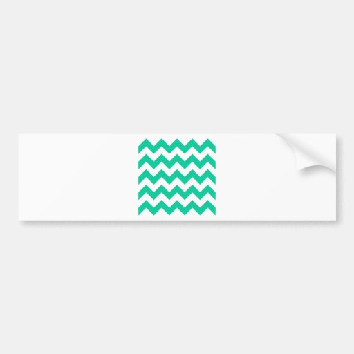 Zigzag I - White and Caribbean Green Bumper Stickers
