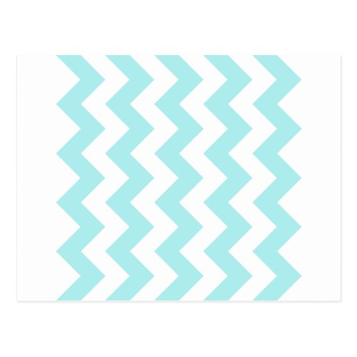 Zigzag I - White and Pale Blue Post Card