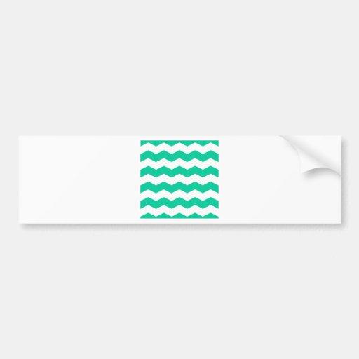 Zigzag II - White and Caribbean Green Bumper Sticker