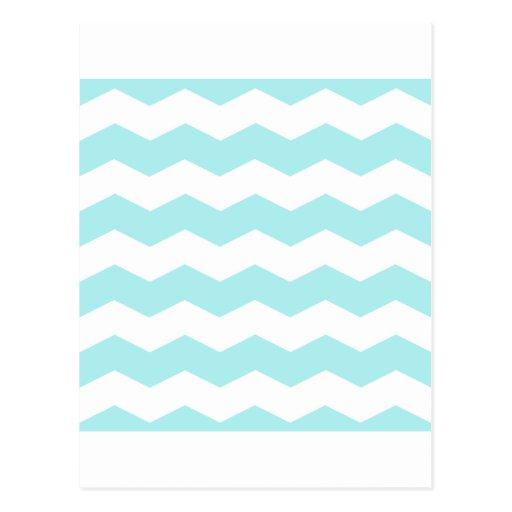 Zigzag II - White and Pale Blue Postcard
